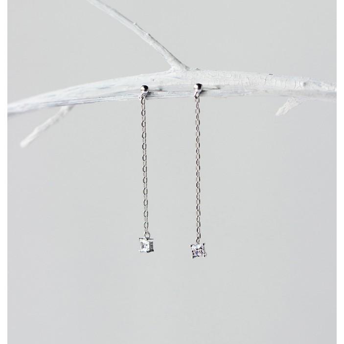 開幕 韓光珠方鑽垂墜耳環鑲鑽耳針 簡約單鑽耳環S925 純銀13