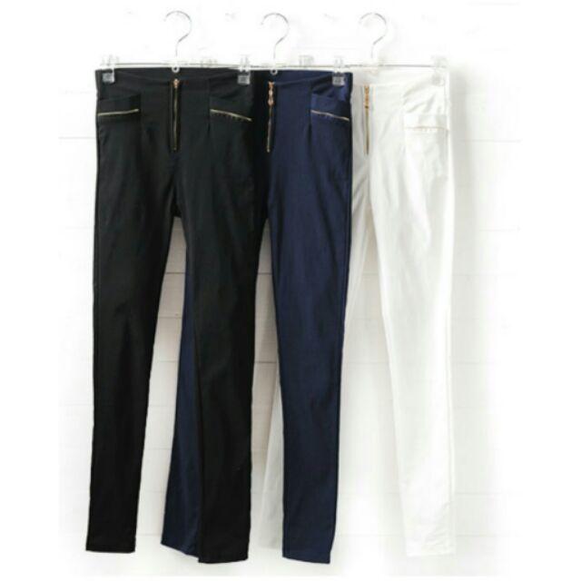彈性斜紋布拉鍊口袋窄管鉛筆褲深藍色