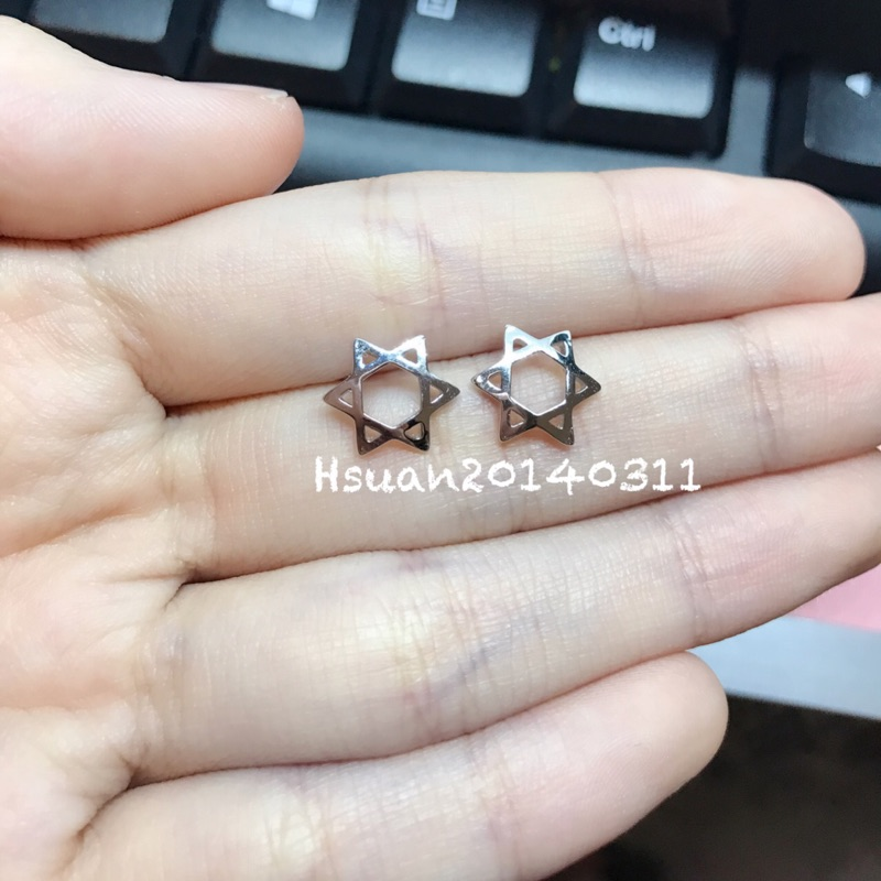 超 ‼️六芒星耳針耳環耳釘花花家香港正生純銀銀飾 (245 )
