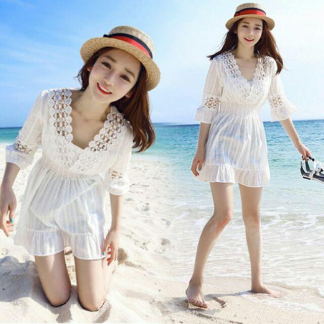 蕾絲娃娃衫女海邊度假沙灘短裙正韓上衣大碼大 V 領收腰a 字連衣裙洋裝短袖素t 長裙 波西