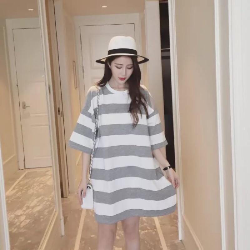 (條紋當道✨)mimiwear 夏日條紋連身衣線條開衩長版T 側邊開叉顯瘦 連身裙長版t
