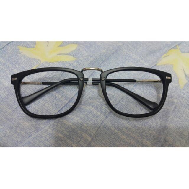 橢圓金屬膠框 平光眼鏡鏡框霧面黑色