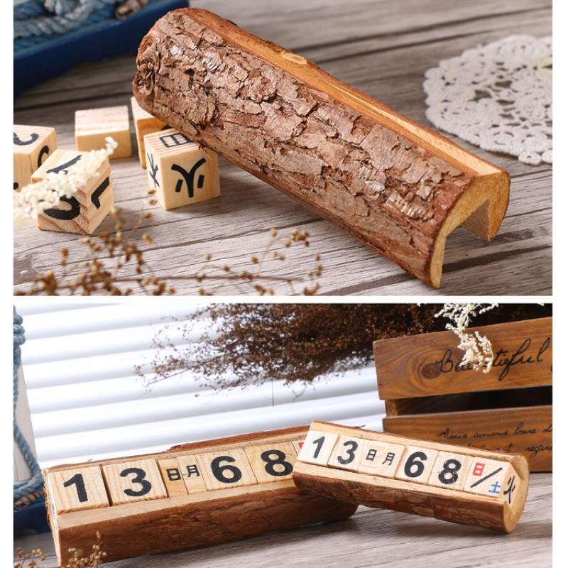 2017 桌曆復古原木桌上立體手動型萬年日曆萬年曆立體日曆月曆傳統日曆原木日曆zakka
