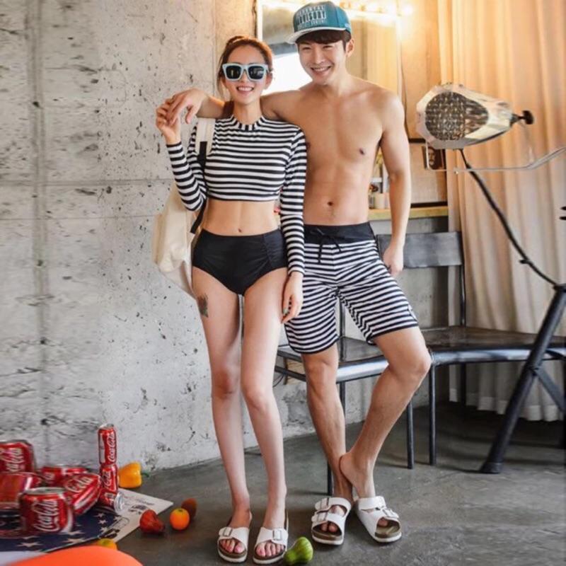 韓妞防曬條紋長袖短版泳衣高腰三角泳褲男款條紋泳褲情侶泳衣