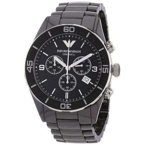 正品EMPORIO ARMANI 亞曼尼AR1421 黑色陶瓷錶帶三眼計時腕錶僅此一檔