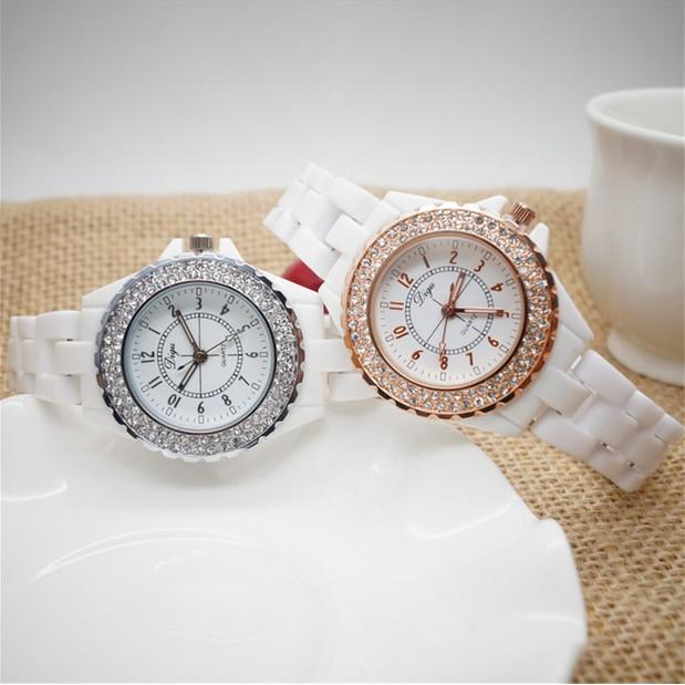 正品白色陶瓷手錶女學生 簡約 潮流女士石英防水錶小清