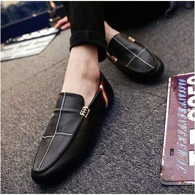 ~衣詩衣倩のღ~夏天潮鞋 潮流男鞋子 男士小皮鞋一腳蹬 透氣懶人豆豆鞋