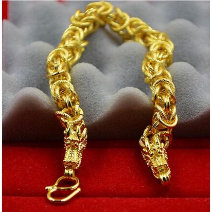 黃金手鏈男士龍頭越南沙金鍍金歐幣金鏈子 金首飾不掉色