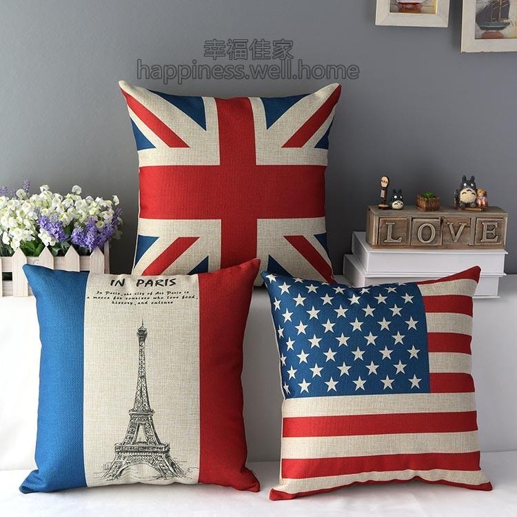 本月 美國英國法國國旗巴黎鐵塔艾菲爾鐵塔厚棉麻抱枕抱枕套不含枕芯枕心小枕頭倫敦