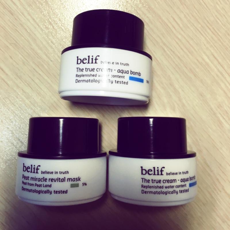 belif 前導精華液乳液炸彈霜泥膜面膜旅行組、體驗包( ,專櫃)