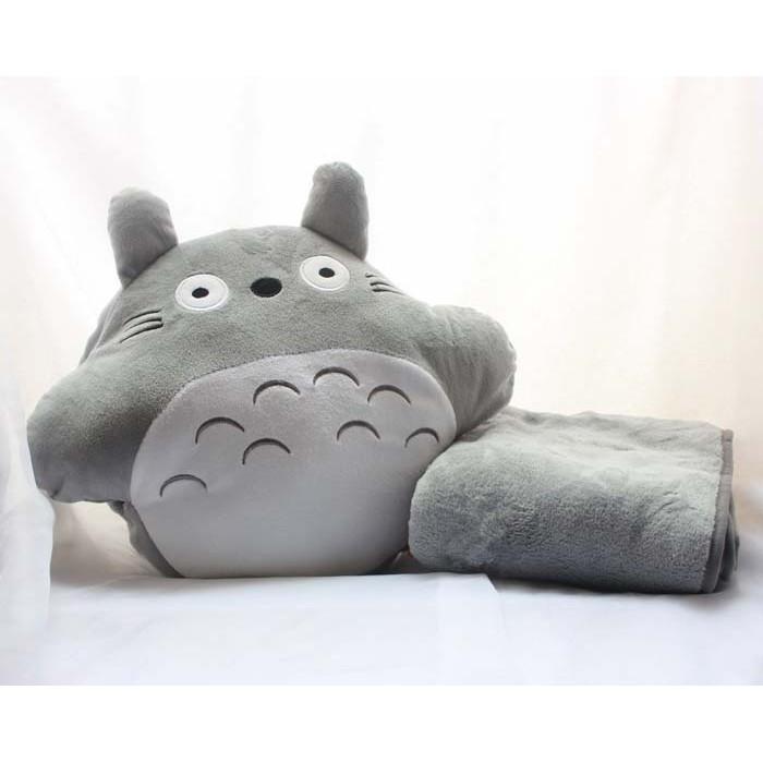 可愛龍貓三用抱枕暖手枕毛毯