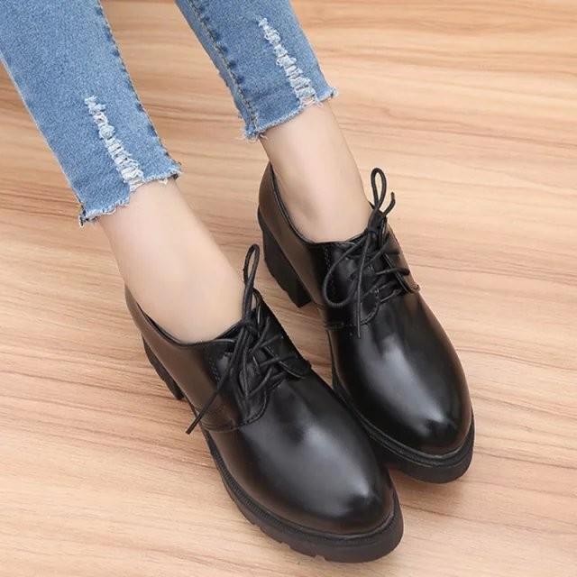 潮流美搭7 2016 春秋 復古女鞋英倫學院風中跟粗跟單鞋女黑色 小皮鞋女