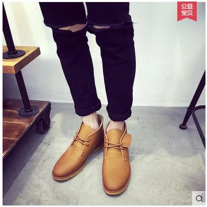 英倫風馬丁靴男士沙漠靴復古短靴工裝男靴子雪地高幫男鞋潮流