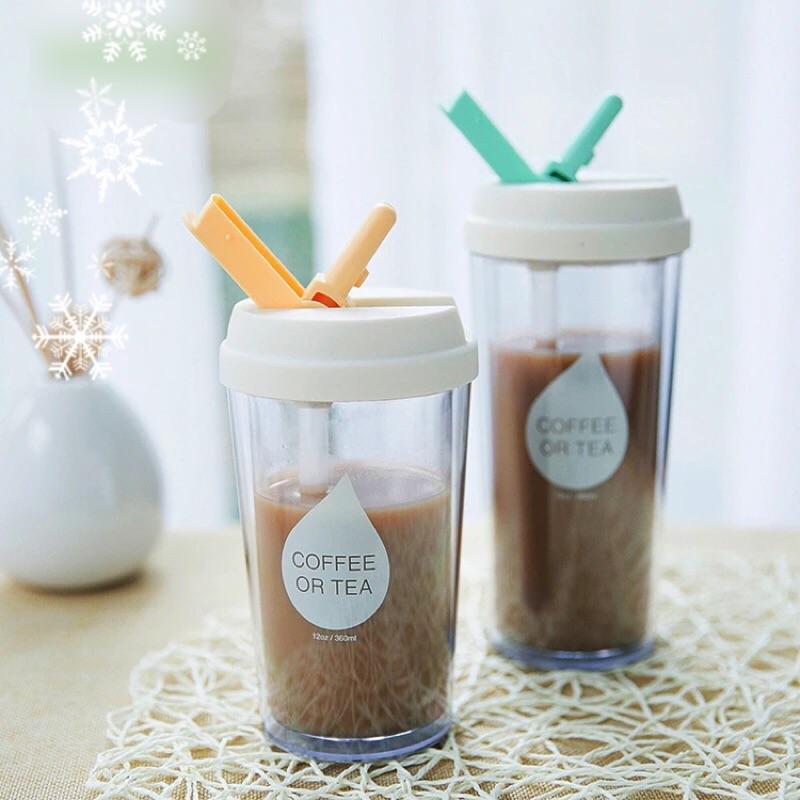 吸管隨行杯 學生水杯奶茶咖啡杯食品級AS 塑料塑料
