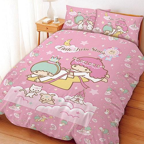 三麗鷗  系列寢飾~KIKILALA 雙子星雙星仙子粉~單人雙人床包組被套涼被兩用被鋪棉被