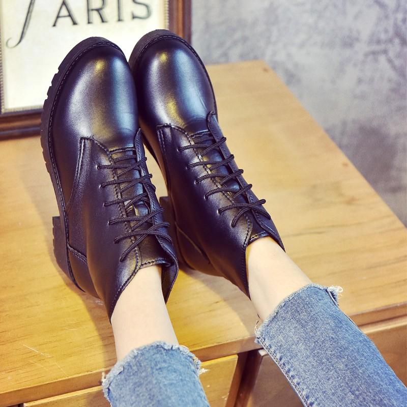 馬丁靴女英倫風短靴女春秋單靴粗跟皮靴子短筒女靴及裸靴 女鞋