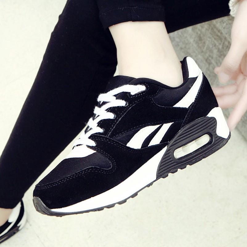 2015 春 韓國氣墊鞋 網眼 黑白厚底松糕女鞋網面潮秋