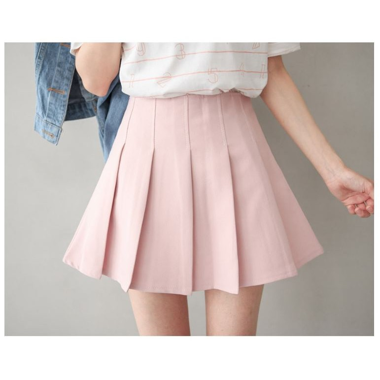 小百褶壓褶側拉鍊褲裙粉膚色
