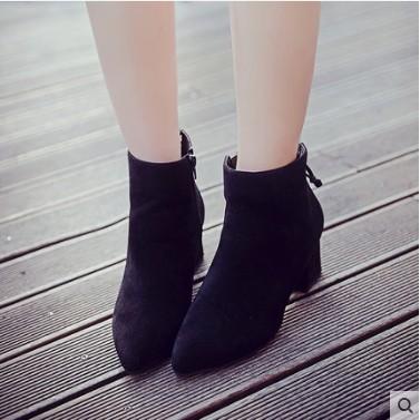 ~衣詩衣倩のღ~2016 春鞦 粗跟高跟馬丁靴潮女短靴尖頭側拉鏈英倫風磨砂單靴子