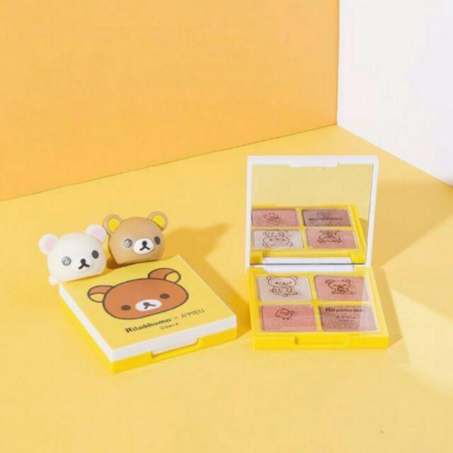 ~VIVIAN 韓國 ~ 韓國美妝品牌Apieu  懶懶熊聯名款拉拉熊4 色眼影