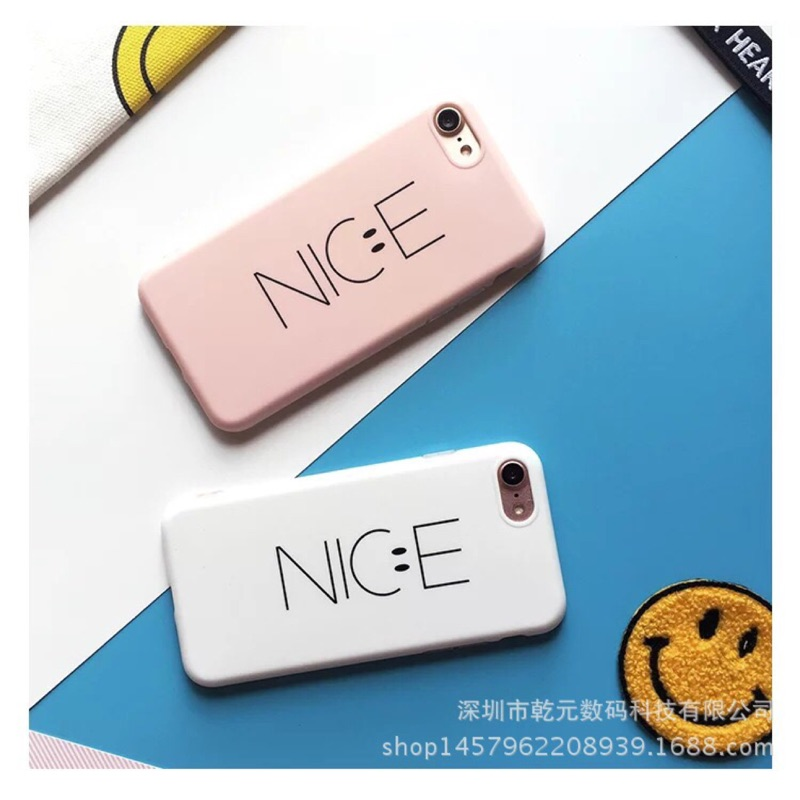 Nice 笑臉簡約粉色白色手機殼iPhone6s plus iPhone7 plus 防摔