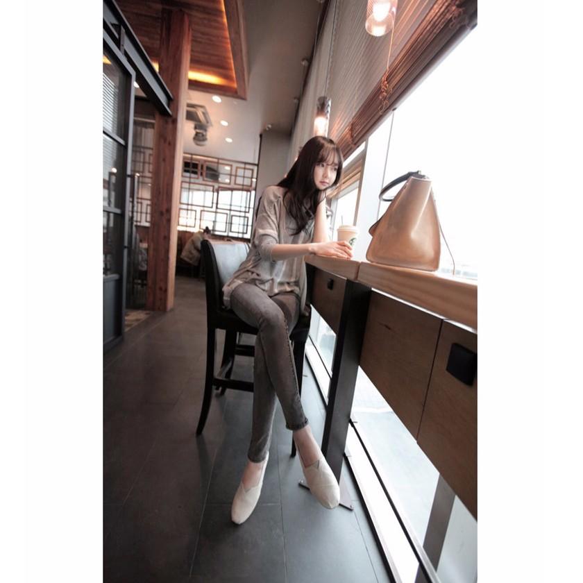 價❤ 牛仔褲女煙灰色鉛筆褲顯瘦緊身修身彈力小腳褲韓國