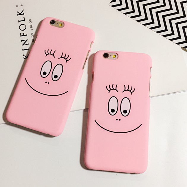 韓國卡通泡泡先生磨砂粉色笑臉iphone6s plus 趣味手機殼蘋果5S se 硬殼保護