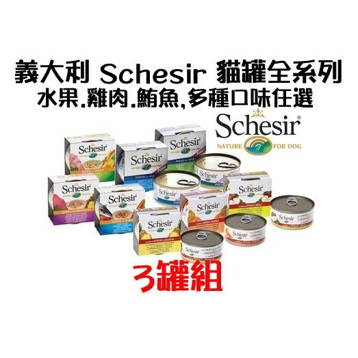 義大利Schesir 貓罐全系列,水果、雞肉、鮪魚,單一口味~三罐組~