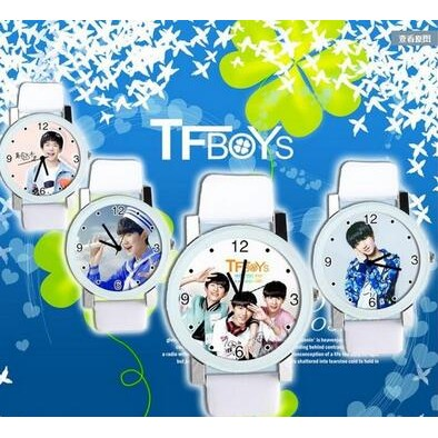 手錶tfboys 王俊凱女學生同款王源易烊千璽石英錶周邊 情侶~你的小貓咪吖~~現 ~