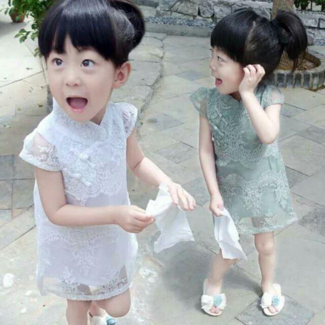 ~ ~小童旗袍蕾絲連衣裙n ·短袖甜美歐根紗裙子n ·透氣性好, 甜美復古風