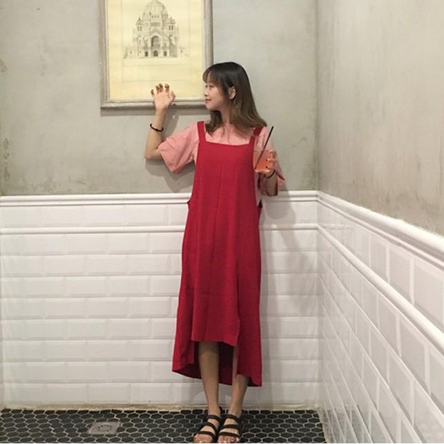 7 23 不規則下擺純色吊帶裙背心裙連身裙長裙72396
