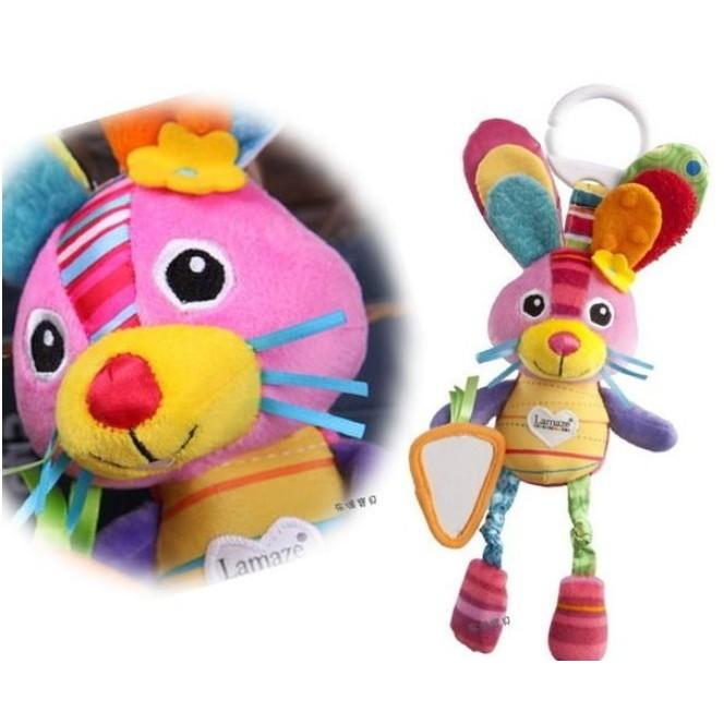 ╭~布偶寶貝~╮D17 ~lamaze ~可愛粉兔寶寶多 叮噹推車嬰兒床掛