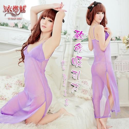 ~唯愛~-吸引力!網紗長裙情趣衣~淺紫~-31055