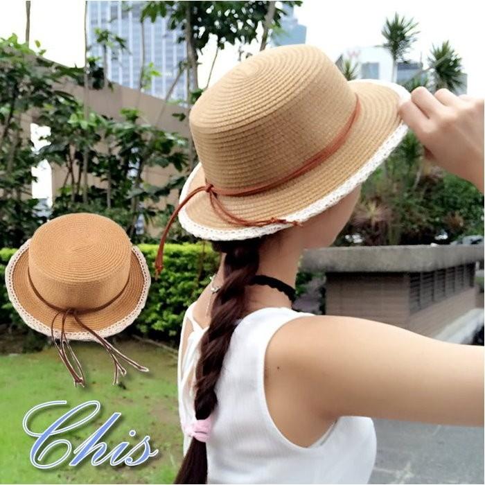Chis Store ~ 蕾絲滾邊皮繩草帽~春夏新品韓國蕾絲邊皮革 平頂草編帽遮陽帽子防曬