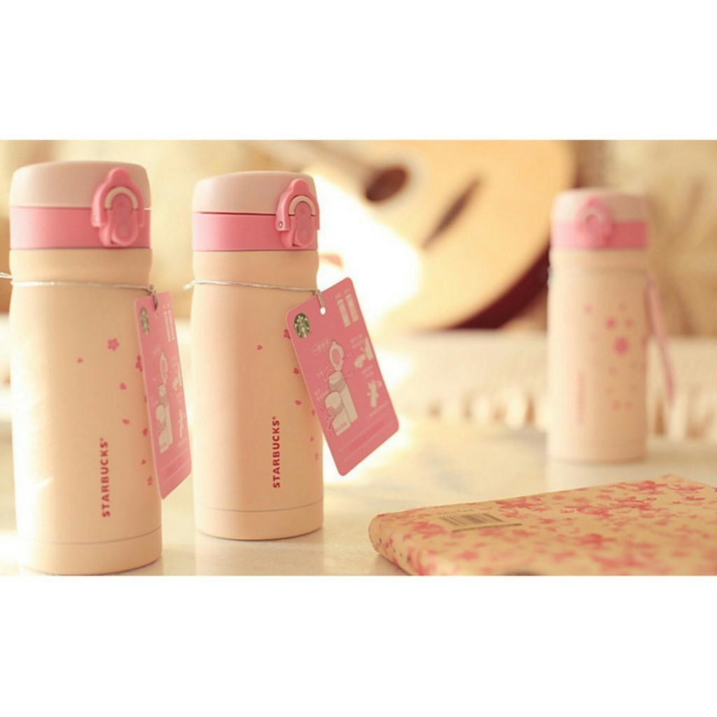 星巴克限定櫻花保溫瓶有350ml 與500ml 採用304 不鏽鋼保溫瓶Starbucks