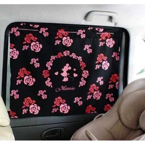 正品NAPOLEX Disney 米妮米奇車用窗簾吸盤汽車窗簾遮陽簾單層