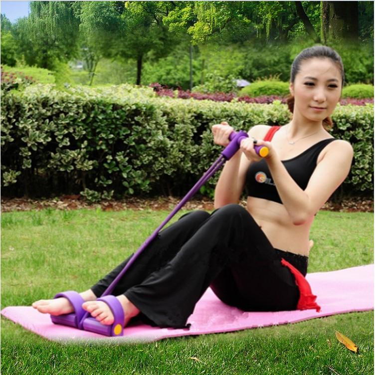 多 腳踏4 管拉力器仰臥起坐健身器材 器材減肥拉力繩彈力繩瘦肚子瘦腰減手臂練腹肌健腹美腿