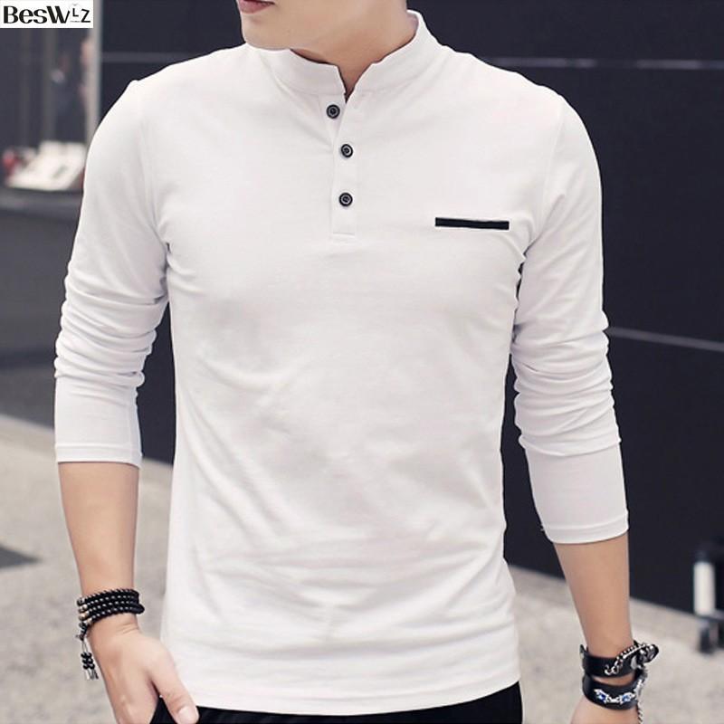 ~今日最低~ ( )青年男士修身立領長袖t 恤新品秋裝男裝純棉打底衫