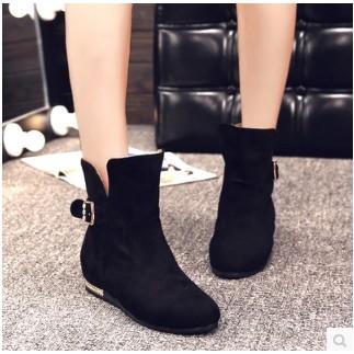 短靴英倫風馬丁靴平跟平底磨砂單靴大碼圓頭女靴子潮