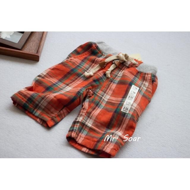 ~Mr Soar ~B414 style 男童橘色格紋雙層純棉紗短褲五分褲