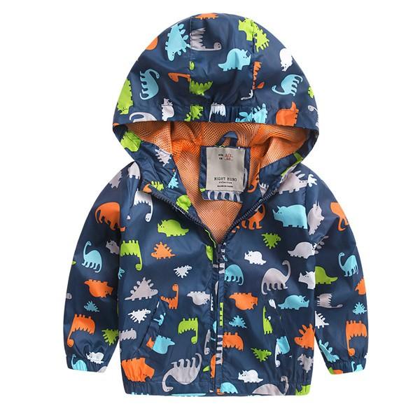 ⛱ 下殺⛱男童2016 秋裝滿版恐龍圖案防風外套長袖