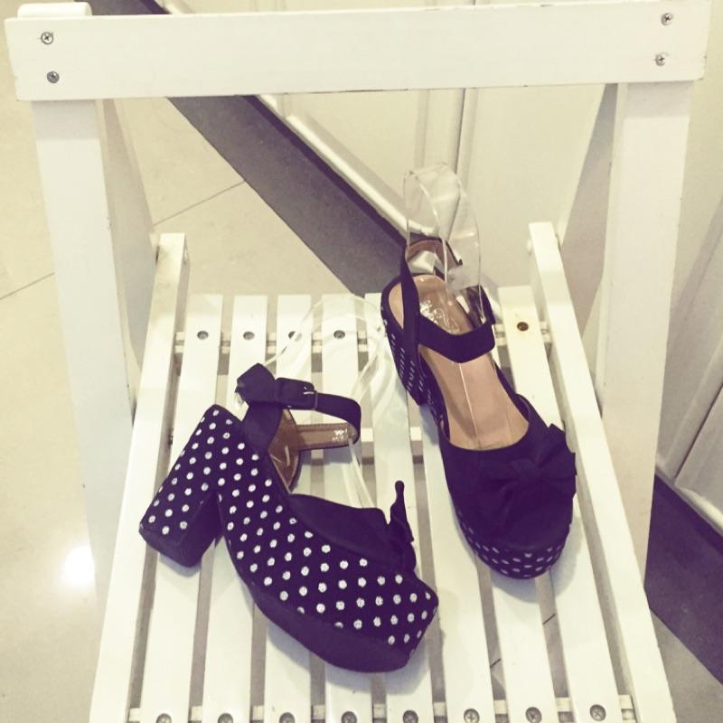 羅馬涼鞋高跟鞋十公分防水台四公分厚底涼鞋厚底楔形粗跟點點藍色黑色米色 百搭尺寸35 、36