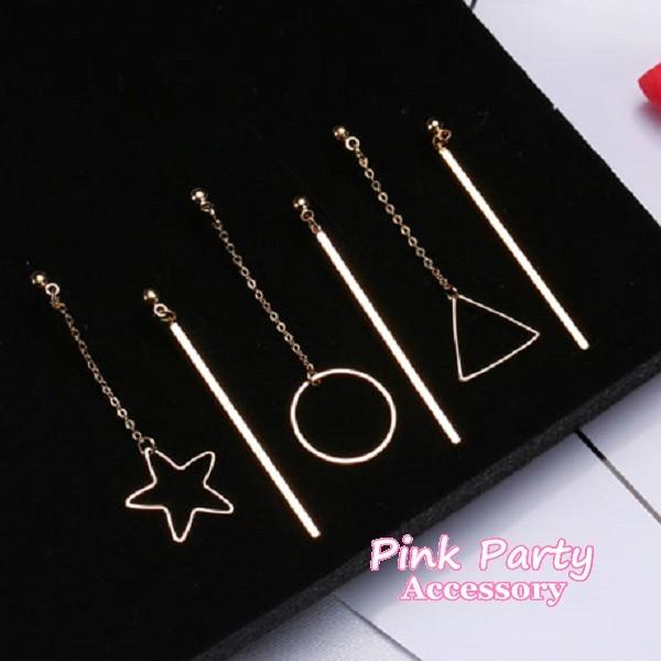 ~耳環~可改耳夾韓國 金屬星星圓型三角型幾何不對稱耳針夾式耳環螺旋耳夾PinkParty