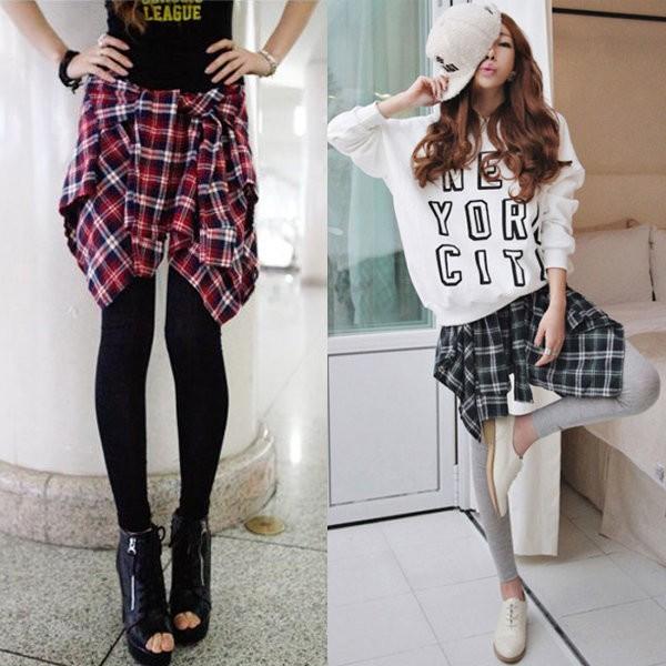 假兩件格子襯衫款不規則彈力棉打底褲裙