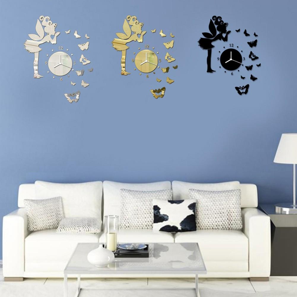 鏡面鐘錶 掛鐘立體牆面裝飾品貼紙仙女蝴蝶JM Z016