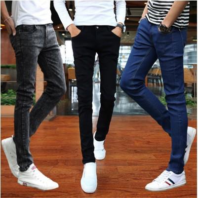 ~ 不用等~ 中青少年彈力牛仔褲男士 薄款修身小腳褲男生 潮流秋裝長褲子