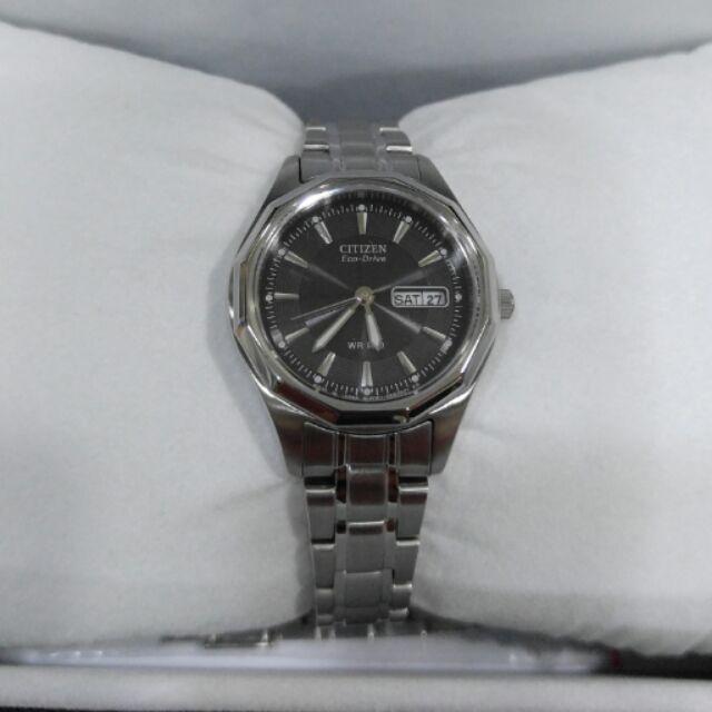 CITIZEN 星辰錶EW3145 58E 光動能藍寶石水晶鏡面女錶Eco Drive