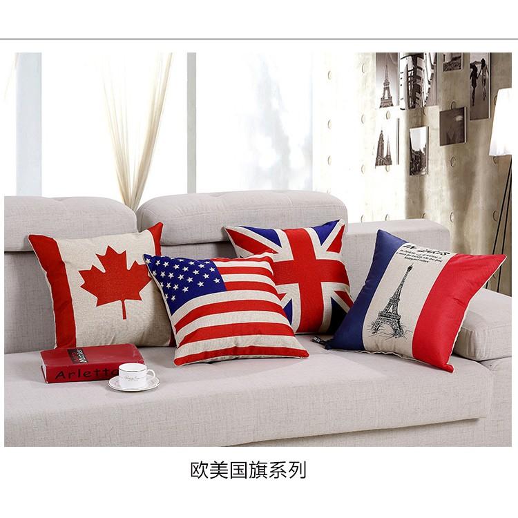 ~國旗抱枕~ 國旗加拿大美國英國法國巴黎鐵塔艾菲爾鐵塔復古厚棉麻抱枕抱枕套小枕頭倫敦北歐簡