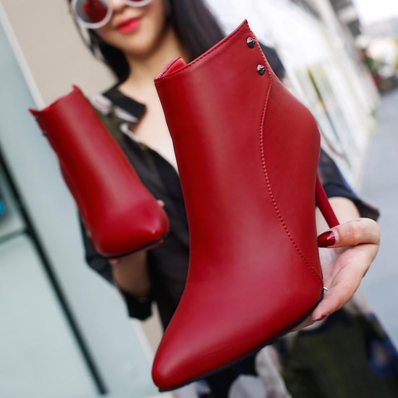 ~hello 大小姐~春 歐洲站 尖頭女單靴短靴性感顯瘦細跟高跟馬丁靴及踝靴冬