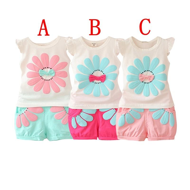夏天套裝Fashion 女孩粉女孩向日葵可愛T 恤短褲兩件一組